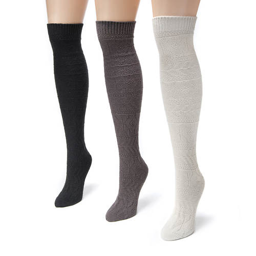 Muk Luks Women's 3-Pack Diamond Boot Socks