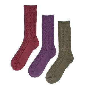 Muk Luks Women's 3-Pack Cable Crew Socks