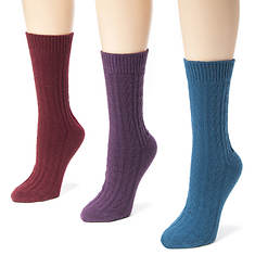 Muk Luks Women's 3-Pack Cable Boot Socks