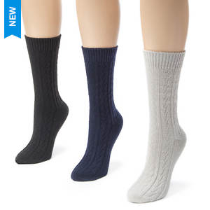 Muk Luks Women's 3-Pack Cable Boot Socks