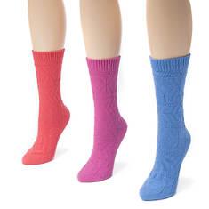 Muk Luks Women's 3-Pack Pointelle Crew Socks