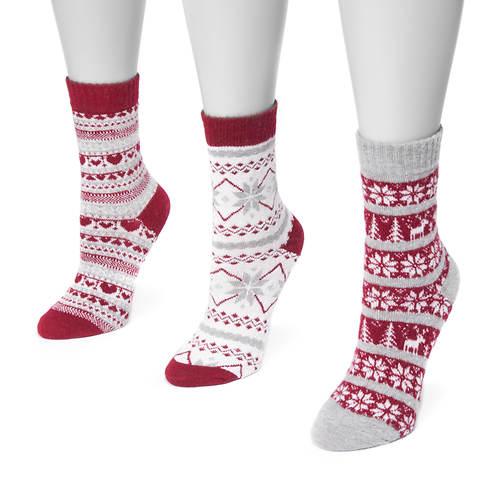 Muk Luks Women's 3-Pack Holiday Crew Socks