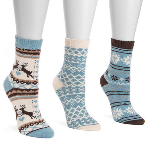 MUK LUKS Women's 3-Pack Holiday Crew Socks