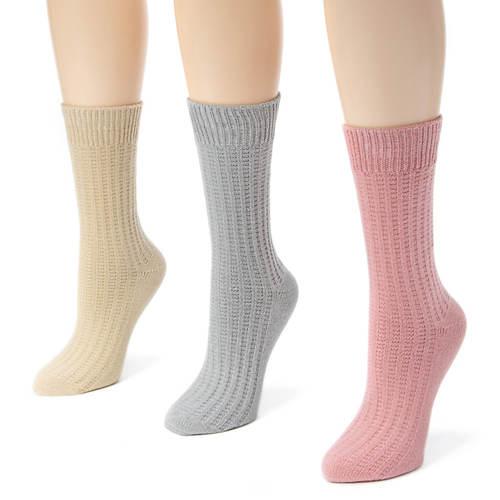 Muk Luks Women's 3-Pack Waffle Boot Socks
