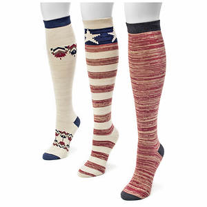 Muk Luks Women's 3-Pack Americana Knee High Socks