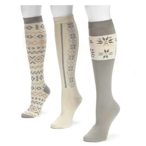 Muk Luks Women's 3-Pack Winter White Knee High Socks