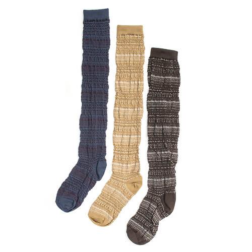 Muk Luks Women's 3-Pack Over the Knee Socks