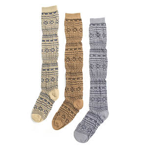 Muk Luks Women's 3-Pack Over the Knee Socks