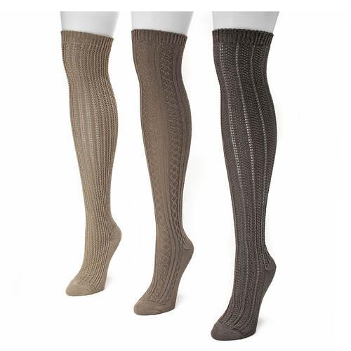 Muk Luks Women's Over the Knee Textured Socks