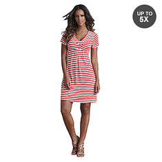 Nautical Striped Pleated Dress
