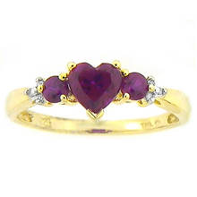 Lab Ruby Heart Ring
