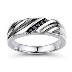 Men's Anniversary Black Diamond Ring