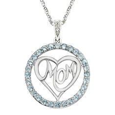 MOM Gemstone Circle Heart Pendant