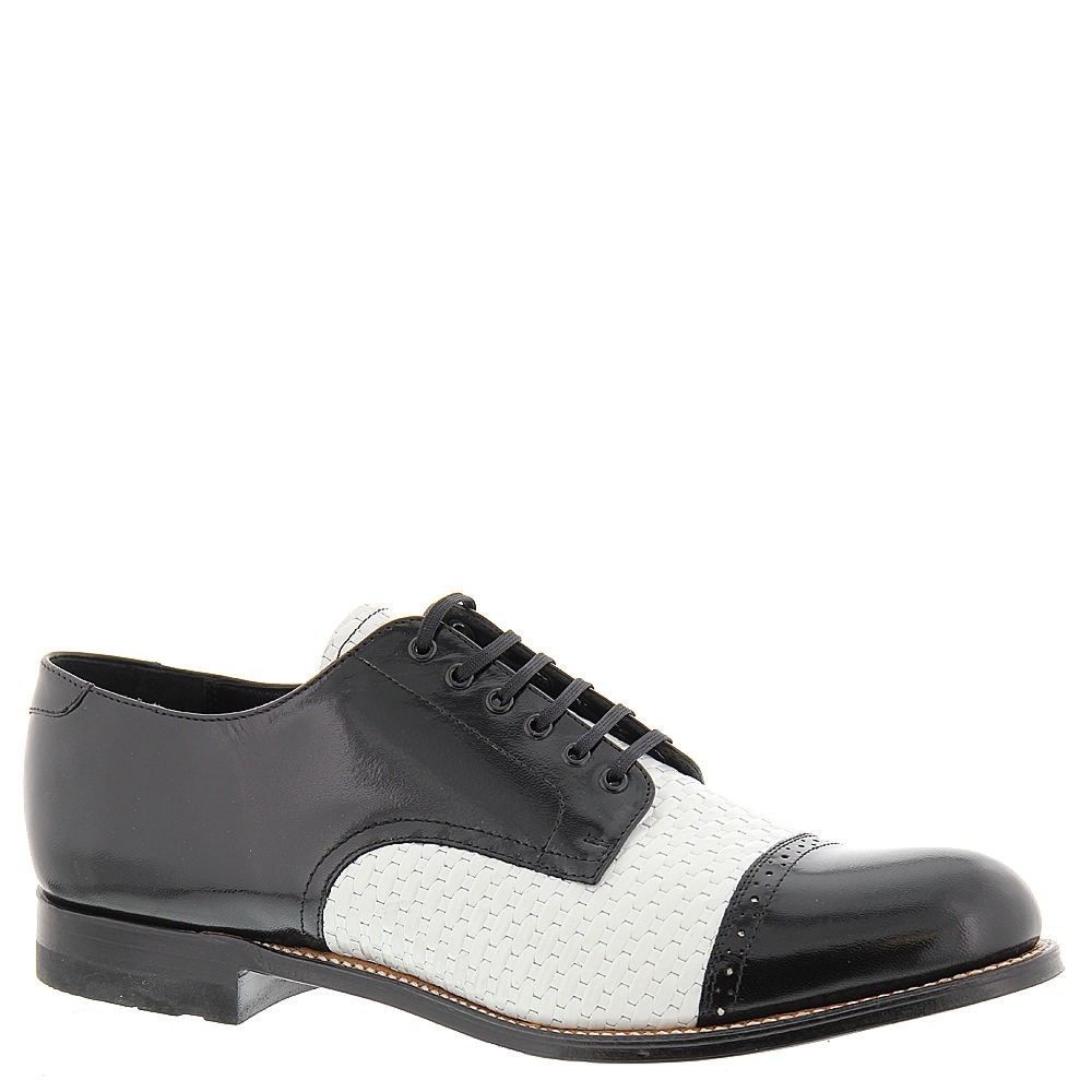 1920s Style Mens Shoes | Peaky Blinders Boots Stacy Adams Madison 00070 Mens Black Oxford 12 D $129.95 AT vintagedancer.com
