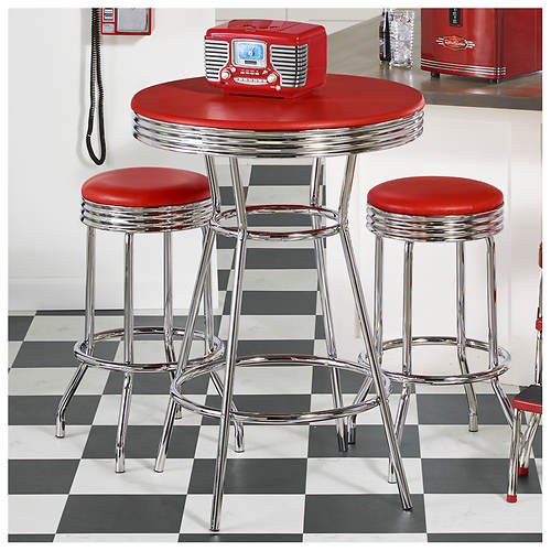 3-Piece Retro Pub Table & Stool Set