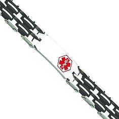 Stainless Steel/Rubber Med Bracelet