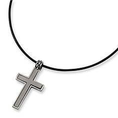 Titanium Cross on Cord Necklace