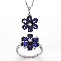 Gemstone Flower Ring and Pendant Set