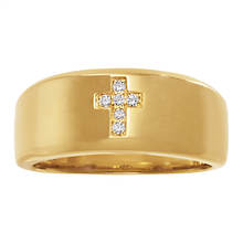 14K Gold-Plated Cross/CZ Accent Ring