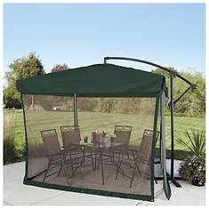 Hunter Green 8'x8' Offset Umbrella with Mosquito Screen