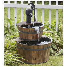 Two-Tier Wooden Barrel Fountain