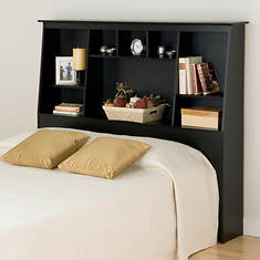 Full/Queen Tall Slant-Back Bookcase Headboard