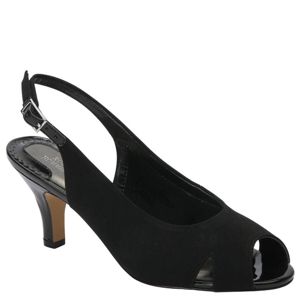 Retro Vintage Style Wide Shoes Ros Hommerson Lana Womens Black Slip On 10 N $109.95 AT vintagedancer.com
