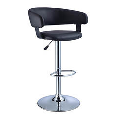 Faux Leather/Chrome Barrel Seat Adjustable Height 360° Swivel Barstool