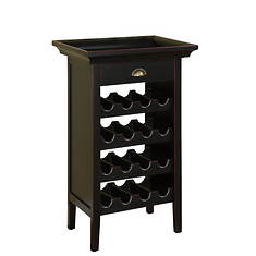 Black with Merlot Rub-Through Wine Cabinet and Lift-off Tray Top