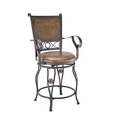 Big & Tall Stamped Back Counter Stool with Arms