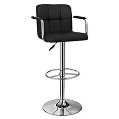 Chrome Quilted Adjustable Height 360° Swivel Barstool