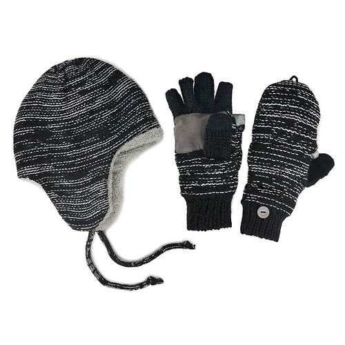 MUK LUKS B Side Marl Helmet Hat & Mittens (Men's)