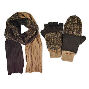 MUK LUKS Cable Scarf & Mittens (Men's)