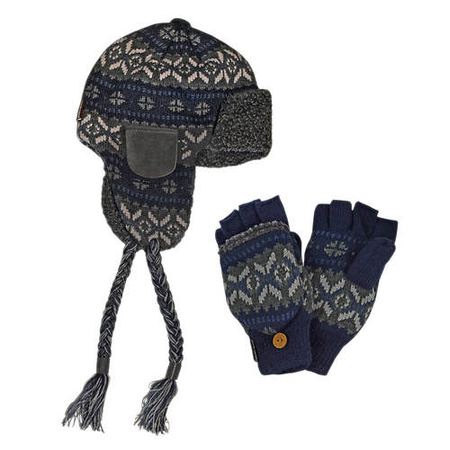 MUK LUKS Trapper Hat & Flip Mitten Set (Men's)