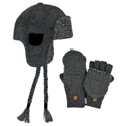 MUK LUKS Trapper Hat & Flip Mitten Set (Men's)