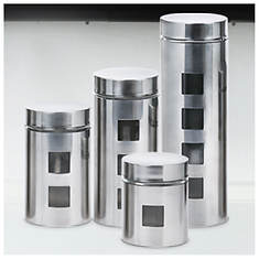 Ragalta USA PureLife 4 Piece Stainless Steel Glass Canister Set