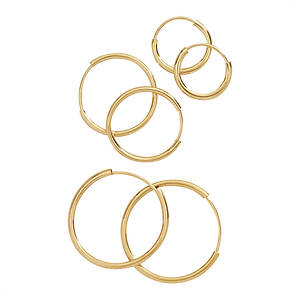 14K Gold Hoop Earring Set