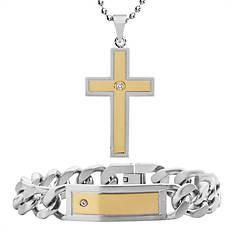 Two-Tone Bracelet & Necklace Set