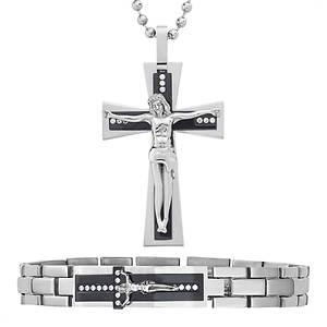 Crucifix Bracelet & Necklace Set