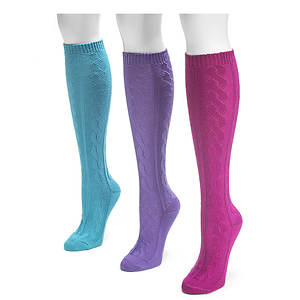Muk Luks Women's 3-Pack Micro Knee High Socks