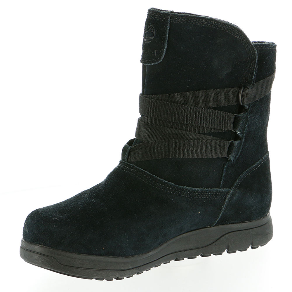 Timberland Women s Leighland Waterproof Pull on Boot 8 M Black Suede ... e7be55f6719e