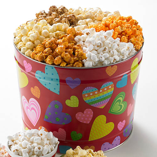 Groovy Hearts Popcorn Tin 6-Way