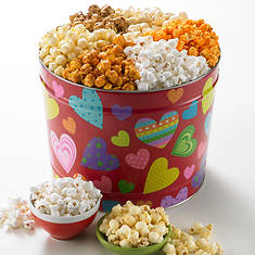 Groovy Hearts Popcorn Tin - 3 Way
