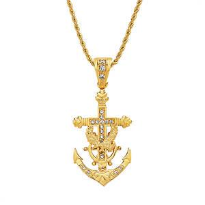 Men's Anchor Cross Necklace