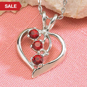 Simulated Birthstone Heart Necklace - April