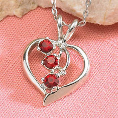Simulated Birthstone Heart Necklace - March