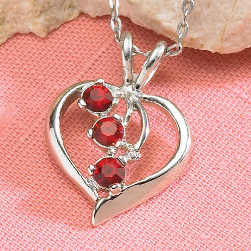 Simulated Birthstone Heart Necklace