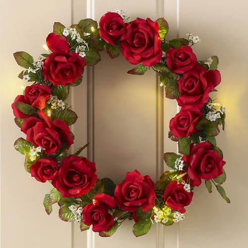 LED Rose Wreath