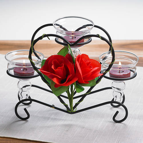 Rosy Candle Centerpiece