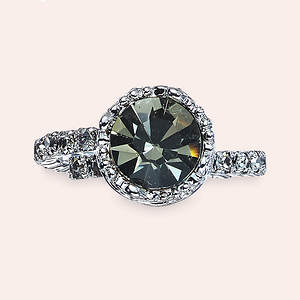 Crystal Crown Ring - Black Diamond